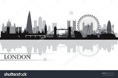 London City Skyline Silhouette Background Vector Illustration