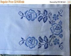 Items similar to Runner Linen Table Runner Blue Floral Cross Stitch Patterns White Linen Background Open Work Surrounding Border on Etsy 10 Minute Table Runner, Cross Stitch Embroidery, Cross Stitch Patterns, Delft, Table Runners, Needlework, Handmade Gifts, Floral, Etsy