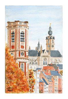 Mons (Belgique), la Tour du Val des Écoliers, la collégiale Sainte-Waudru et le beffroi. Marie-Claire Lefébure