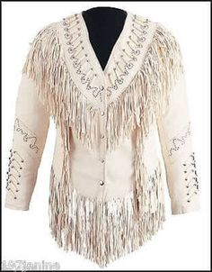 Womens Custom Beaded Fringed Lambskin Western Cowgirl Indian Show Jacket   #TreasureTroveTradingPost #Jacket