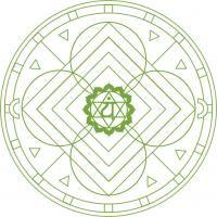 Mandala Verde. Mandala para pintar creado con el color del cuarto chakra. Para imprimir, colorear, pintar.
