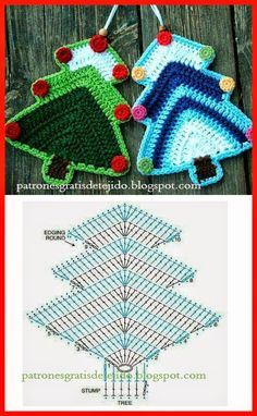 Cute And Easy Free Christmas Tree Ornament Crochet Pattern For The Holiday Season Crochet Tree, Crochet Diy, Crochet Motifs, Crochet Chart, Thread Crochet, Crochet Flowers, Crochet Christmas Decorations, Christmas Crochet Patterns, Crochet Christmas Ornaments