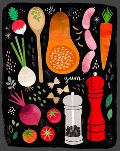 print & pattern Art And Illustration, Illustration Agency, Editorial Illustration, Vegetable Illustration, Food Illustrations, Graphic Design Illustration, Food Graphic Design, Design Poster, Poster Designs