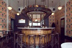 """""""The horseshoe shape was nice,"""" says Parolari, """"But more inspiring was how it provided a feeling of community and the ability to have conversation with almost anyone in the room."""" Angel Face restaurant, Portland, OR"""