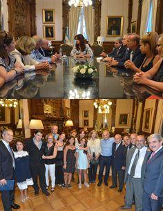 La presidenta Cristina Fernández de Kirchner recibió a los familiares de las víctimas del atentando a la embajada de Israel ocurrido hace 23 años, acompañaron a la Jefa de Estado, el jefe de Gabinete, Aníbal Fernández y el ministro de Justicia, Julio Alak.
