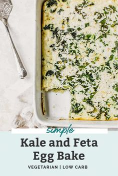 This Kale & Feta Egg Bake is super simple with with just 6 main ingredients. A healthy, easy egg cas Easy Egg Casserole, Whole Food Recipes, Dinner Recipes, Vegetarian Recipes, Healthy Recipes, Free Recipes, Healty Dinner, Healthy Family Meals, Baked Eggs