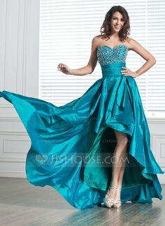 A-Line/Princess Sweetheart Asymmetrical Taffeta Prom Dress With Beading (018020800) - JJsHouse