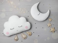 Handmade decorative hanging cloud pillow with three golden drops - sleeping with pink cheeks / hanging crescent moon pillow with three golden stars. - Fabric 100% cotton on the both sides and hypo allergenic hollow fibre insert. - Golden or silver drops and stars made with glitter
