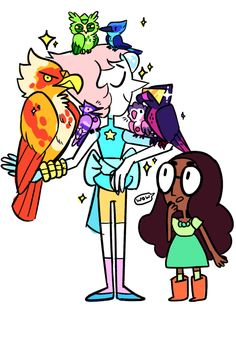 Pearl and the crystal birds. Steven looks adorable! LOL! And Peridot's giving me a death glare!!