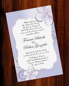 Elegant Blue And Purple Calla Lily Printable Wedding Invitation Cards EWI204