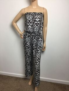 International Concepts Women's Beach Strapless Ikat Printed Wide Leg Jumpsuit XS  | eBay