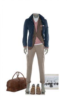 Brunello Cucinelli ss12 - navy short parachute cotton parka, dark brown blazer, mauve v-neck cashmere-silk sweater, white shirt, dip-dyed chevron cargo pants