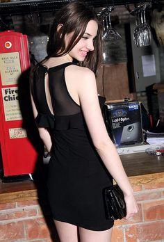 Morpheus Boutique  - Black Mesh Ruffle Banded Clubwear Mini Dress