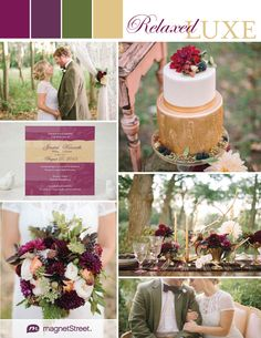 Regal and rustic wedding ideas in purple, green and gold from MagnetStreet