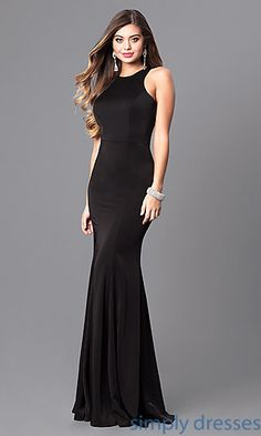 Shop mermaid long formal dresses at Simply Dresses. High-neck evening dresses under $200 with long mermaid skirts in form-fitting jersey.