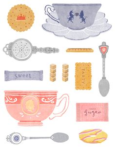 Everything you need for the perfect Diamond Jubilee Tea (art by Kate Wilson). #tea #food #art #illustration #party #Jubilee #UK #British #Britain #English #Queen_Elizabeth