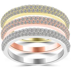 1.95 Ct. Tri Color Stackable Ring Set Micro Pave Wedding Band 14k Gold - SRS-004 #LioriDiamonds #StackableRingSet
