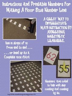 The instructions and printable numbers included in this product will allow you to make your own floor sized number line.  There are printable numbe...