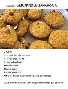 Sanck - Muffins de Zanahoria y Coco Baby Food Recipes, Gluten Free Recipes, Healthy Desserts, Healthy Recipes, Fast Metabolism Diet, Sin Gluten, Food Hacks, Food Videos, Meal Prep