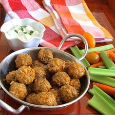 "Spicy Buffalo-Style Meatballs | ""Quick and easy gluten-free dinner. My husband can eat all these spicy meatballs in one sitting! Serve with blue cheese dressing and veggie sticks."""