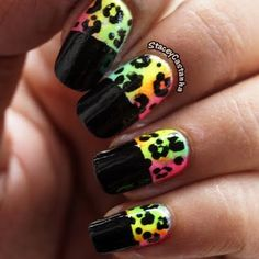 This funky nail art features a psychedelic mix of neon nail polish shade with  black polish and leopard design. Watch the video and recreate this nail design with the techniques used.