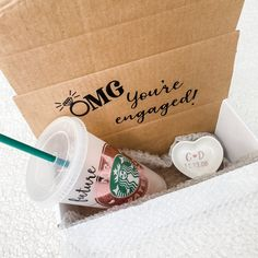 Excited to share the latest addition to my #etsy shop: OMG you're engaged gift box / future Mrs Starbucks cup / personalized ring dish / engagement gift / bridal gift / wedding gift