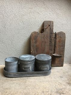 Grijs metalen pot voorraadpot suikerpot blik voorraadblik