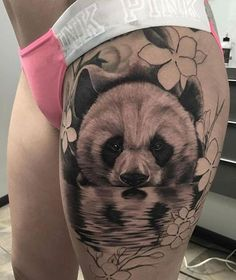 Gorgeous B&G panda thigh piece Artist IG: @adansanchez_