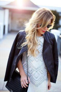 Happily Grey, sparkling simple short white dress with black leather coat. | EMBELLISHED |