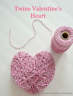 DIY Valentine's heart using twine. Find your items at a local GoodwillSA location.