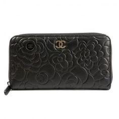 Authentic Chanel Black Leather Zip Around Camellia Wallet