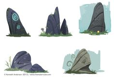 character Can I please do this? Character Design, Illustration and Concept Art by Kenneth Anderson: ROCKS! Game Design, Bg Design, Prop Design, Environment Concept Art, Environment Design, Animation Background, Art Background, Game Concept Art, Visual Development