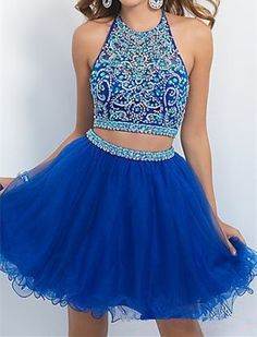 Two Piece Homecoming Dress,Beaded Prom Dress,Popular Homecoming Dress,Halter Sexy Cocktail Dress