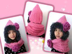 Sale  Girl's Hoody Hat Neck Warmer Crochet by PrincessInDreams