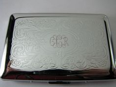 Engraved scroll design card case with script monogram