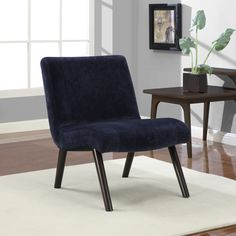 Navy Quilted Armless Chair | Overstock.com