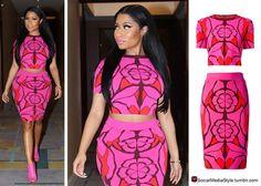 Buy Nicki Minaj's Pink Abstract Floral Print Crop Top and Pencil Skirt, here!
