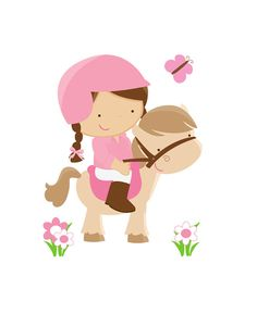 HORSE NURSERY DECAL Wall Art Pink Pony Girl Mural Room Sticker Baby Decor Horseback Riding Childrens Equestrian Bedroom Kids Western Cowgirl