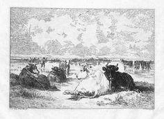 Landes du Bassin d'Arcachon. Gravure à l'eau-forte de Charles Courtry (1846-1897) d'après une peinture d'Émile van Marcke (1827-1890) - Béraldi n°24