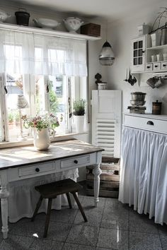 shelf above window -- table under window -- perfect!