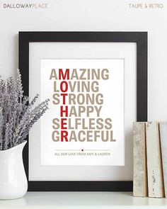 Give her a beautiful poster to hang up with your own custom message.   13 Things Your Mom Actually Wants For Mother's Day