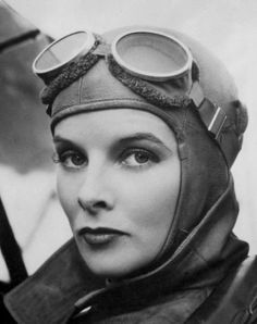 """summers-in-hollywood: """"Katharine Hepburn as an Aviatrix in Christopher Strong, 1933 """" Call Of Cthulhu, Classic Hollywood, In Hollywood, Gloria Grahame, Female Pilot, Katharine Hepburn, Interesting Faces, Black And White Pictures, Dieselpunk"""