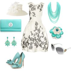 White and turquoise for the evening, gorgeous.