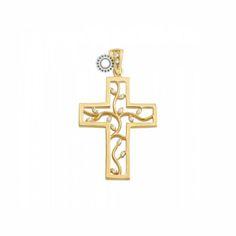 Ένας μοντέρνος βαπτιστικός σταυρός για κορίτσι από χρυσό Κ14 σε κλασικό σχήμα αλλά με ιδιαίτερο εσωτερικό από κλαδιά με ζιργκόν | Σταυροί βάπτισης ΤΣΑΛΔΑΡΗΣ στο Χαλάνδρι #βαπτιστικός #σταυρός #βάπτισης #χρυσός #κορίτσι