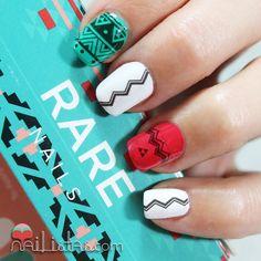 Aztec Etnic Style with water Decals | RARE Nails | Uñas decoradas estilo azteca con el kit de nail art de rare nails