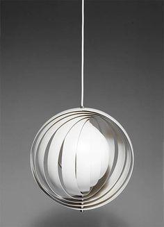 Moon' ceiling light, designed in 1960.  Made by Louis Poulsen, Copenhagen, in the 1960s.  White metal lamella.