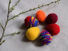 Half a dozen knitted soft eggs bright Easter eggs  by TinyOrchids