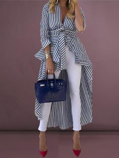 Shop Striped Tied Front Dip Hem Shirt Discover sexy women fashion at IVRose - July 20 2019 at Modest Dresses, Maxi Dresses, Work Dresses, Party Dresses, Fashion Outfits, Womens Fashion, Fashion Blouses, Fashion Boots, Casual Outfits