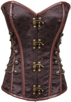 Brown Brocade Steampunk Corset with Chains
