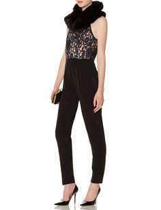 Lace Jumpsuit - Floral lace and a tapered leg shape put an elegant spin on this trendy fashion piece.